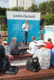 Alexey Navalny在与选民的一次会谈上 库存图片