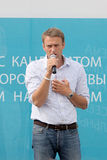 Alexey Navalny op een vergadering met kiezers Royalty-vrije Stock Foto's