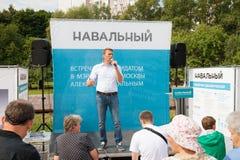Alexey Navalny realiza uma reunião com eleitores Imagens de Stock