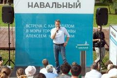 Alexey Navalny spreekt op vergadering Stock Foto