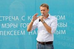 Alexey Navalny vertelt een verkiezingsprogramma Stock Foto