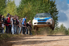 Alexey Semenov drives a blue Mitsubishi Lancer Stock Photos