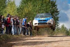 Alexey Semenov drives a blue Mitsubishi Lancer Stock Photos