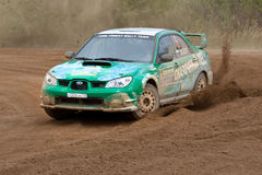 Alexey Zotov drives a Subaru Impreza Royalty Free Stock Photography