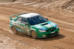Alexey Zotov drives a Subaru Impreza Stock Images