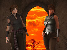Alexia and Thea -- Fantasy Female Medieval Ranger Scouts - Image 3 Royalty Free Stock Image
