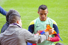Alexis at FC Barcelona training session Royalty Free Stock Images