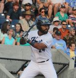 Alexis Olmeda. Catcher for the Hillsboro Hops, single A team for the D-backs at Ron Tonkin field 8,16,15 stock photo