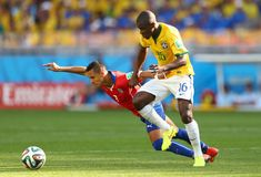 Alexis Sánchez and Ramires Coupe du Monde 2014 Royalty Free Stock Image
