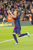Alexis Sanchez celebrating a goal. BARCELONA - APRIL 6: Alexis Sanchez celebrating his goal at Spanish league match between FC Barcelona and RDC Mallorca, final Royalty Free Stock Images