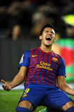 Alexis Sanchez of FC Barcelona. Celebrates goal during the spanish league match against Rayo Vallecano at the Nou Camp Stadium on November 29, 2011 in Barcelona Royalty Free Stock Photos