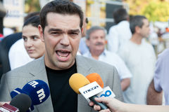 Alexis Tsipras. THESSALONIKI, GREECE - SEPTEMBER 10: Alexis Tsipras at the panhellenic protest at the statue of Venizelos in Thessaloniki on September 10, 2011 Royalty Free Stock Photography