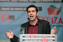 Alexis Tsipras. THESSALONIKI, GREECE - SEP 10: Political speech by Alexis Tsipras president of the Radical Left Coalition, as part of the campaign to repel the Stock Image
