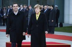 Alexis Tsipras, Angela Merkel foto de archivo libre de regalías