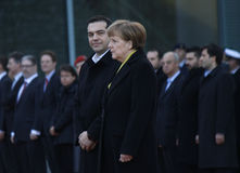 Alexis Tsipras, Angela Merkel. MARCH 23, 2015 - BERLIN: Greek Prime Minister Alexis Tsipras, German Chancellor Angela Merkel - meeting in the Chanclery in Berlin Stock Image