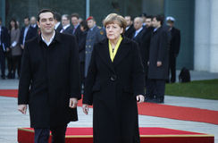 Alexis Tsipras, Angela Merkel Royalty Free Stock Photo