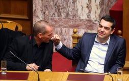 Alexis Tsipras-besprekingen met Minister van Financiën Yanis Varoufakis stock foto's