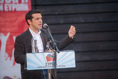 Alexis Tsipras is een Griekse linkse politicus, hoofd van SYRI royalty-vrije stock afbeelding