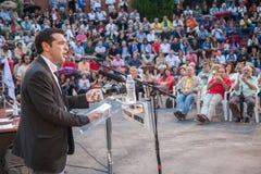 Alexis Tsipras es político de izquierda griego, jefe del SYRI fotos de archivo