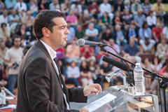 Alexis Tsipras is a Greek left-wing politician, head of the SYRI. THESSALONIKI, GREECE - JUN 5: World Environment Day at the Garden Theatre, Alexis Tsipras Royalty Free Stock Images