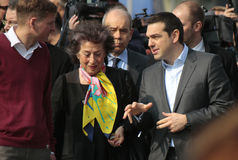 Alexis Tsipras, Lea Rosh. MARCH 24, 2015 - BERLIN:  Lea Rosh and the Greek Prime Minister Alexis Tsipras at a visit of the Holocaust Memorial, Berlin Stock Image