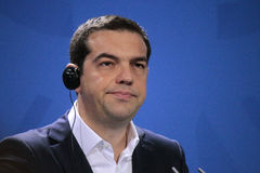 Alexis Tsipras. MARCH 23, 2015 - BERLIN: Greek Prime Minister Alexis Tsipras at a press conference after a meeting with the German Chancellor in the Chanclery in Stock Photo