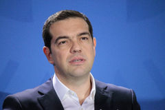 Alexis Tsipras. MARCH 23, 2015 - BERLIN: Greek Prime Minister Alexis Tsipras at a press conference after a meeting with the German Chancellor in the Chanclery in Stock Image