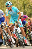 Alexsandr Dyachenko of Astana. Rides during the Tour of Catalonia cycling race through the streets of Monjuich mountain in Barcelona on March 24, 2013 Royalty Free Stock Photos
