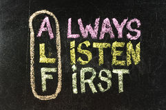 ALF acronym (always listen first) stock photos
