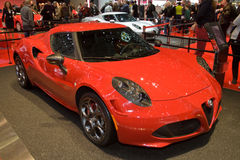 Alfa罗密欧4C全球首演-日内瓦汽车展示会2013年 图库摄影