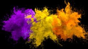 Alfa flúida de color de la púrpura de la explosión de las explosiones coloridas múltiples amarillo-naranja del humo libre illustration