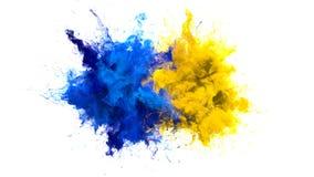 Alfa flúida de las partículas de color de la explosión de las explosiones coloridas múltiples amarillas azules del humo ilustración del vector