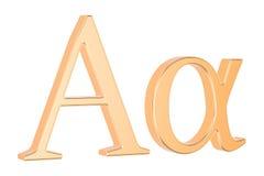 Alfa griega de oro de la letra, representación 3D ilustración del vector