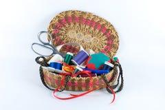 Alfa llenada de la cesta de costura Fotografía de archivo libre de regalías