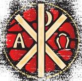 Alfa omega witraż Obraz Stock