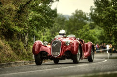 Alfa Romeo 6 C. An ancient  Alfa Romeo 6 C  attends the 33th edition of Coppa del Chianti Classico  a competition race of hill-climb for Historical cars valid Royalty Free Stock Photos