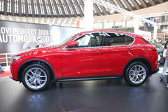 Alfa Romeo bij het Car Show van Belgrado Stock Foto's