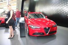 Alfa Romeo bij het Car Show van Belgrado Stock Fotografie