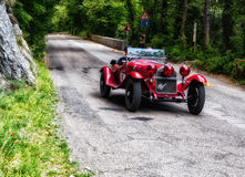 ALFA ROMEO 6C 1750 GRAN SPORT 1930. PESARO, ITALY - MAY 15: old racing car in rally Mille Miglia 2015 the famous italian historical race 1927-1957 on May 15 2015 Royalty Free Stock Image