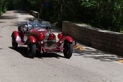 ALFA ROMEO 6C 1750 GS ZAGATO 1930 on an old racing car in rally Mille Miglia 2017. PESARO, ITALY - MAY 15: old racing car in rally Mille Miglia 2015 the famous Royalty Free Stock Photography