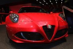 Alfa Romeo 4C na exposição automóvel 2014 de Paris Fotografia de Stock Royalty Free
