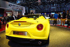 ALFA ROMEO 4C Spider, Motor Show Geneve 2015. ALFA ROMEO 4C Spider It's the first time the chop-top 4C sports car is shown in Europe Royalty Free Stock Images