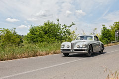 Alfa Romeo 6C 2500 SS Touring (1950) runs in Mille Miglia 2014. Drivers on a vintage sport car Alfa Romeo 6C 2500 SS Touring (1950) runs in the Tuscan country stock photography