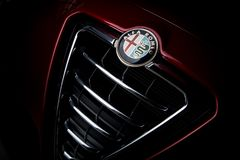 Alfa Romeo Car Badge On Grill foto de archivo