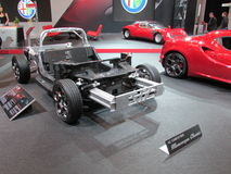 Alfa Romeo chassis (frame) shown. Half turned. 2015 New York International Auto Show. Royalty Free Stock Photography