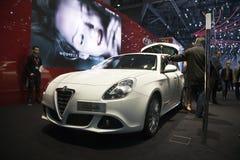 Alfa Romeo Giulietta en el motor de Ginebra Imagen de archivo libre de regalías