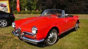 Alfa Romeo Giulieta Spider, Sport Cars. Iconic red car - Alfa Romeo Giulietta Spider 1959, Pininfarina designer. Legends, Prague 2017 Stock Photo