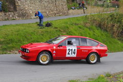 Alfa Romeo GTV6  race during the 64th Sanremo rally. Alfa Romeo GTV6 race during the 64th Sanremo rally conducted in the race crew Mekler-Mekler Stock Images