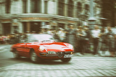 Alfa Romeo on Motoclassic show on vintage effect, motion blur Royalty Free Stock Photography