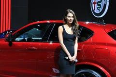 Alfa Romeo 2018 novo na exposição na feira automóvel internacional norte-americana Imagens de Stock Royalty Free